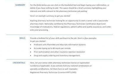 A Great Pharmacy Technician Resume